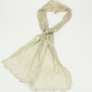 Cream Lace & Flower Embroidered Dainty Scarf
